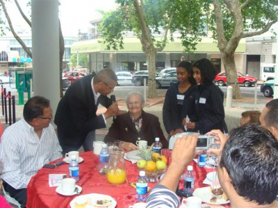 The aged being entertained on Sunclare Square during the CIDC's annual Grandparents tea